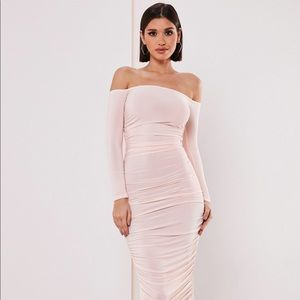 NWT Missguided Blush Bardot Ruched Bodycon Dress
